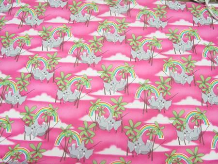 One Yard Pink Elephants Hawaiian Fabric 42 Quot Wide