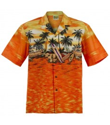Sunset Canoe Aloha Shirt