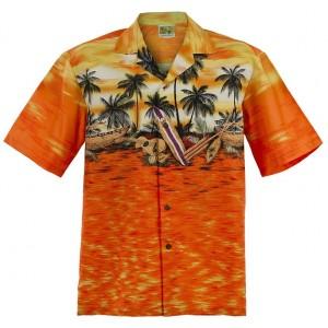 Sunset Canoe Aloha Shirt